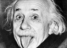 Famous picture of Albert Einstein sticking out his tongue.