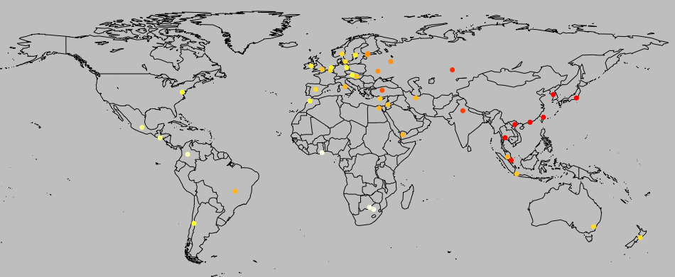 Geographic distribution of the genetic index