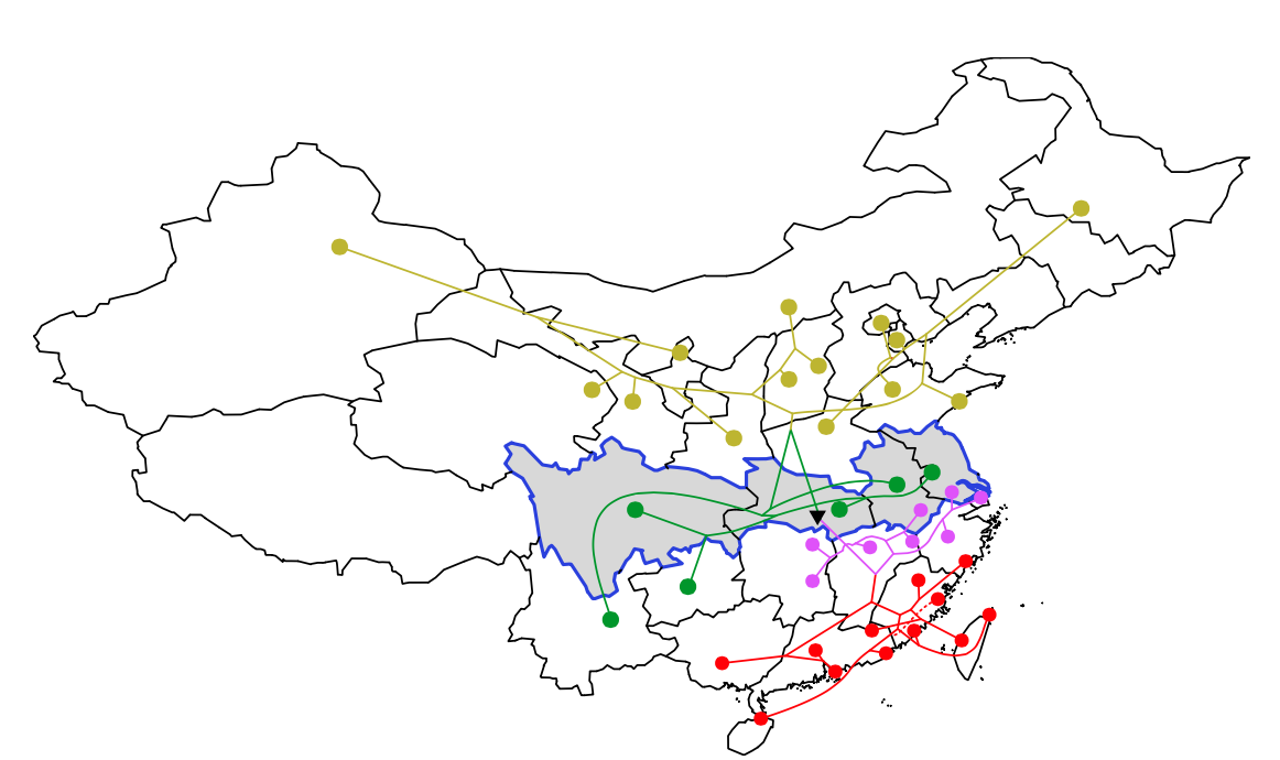 Figure 1: A tree of historical relationships between language varieties constructed from hierarchical clustering of similarities in vocabulary. Provinces on the 'rice-wheat' border are highlighted in grey (provinces south of the border produce more rice). The black triangle indicates the root of the tree. The top four branches of the tree are coloured differently (languages within the same branch are more closely related than languages in different branches). Branch lengths are not meaningful.
